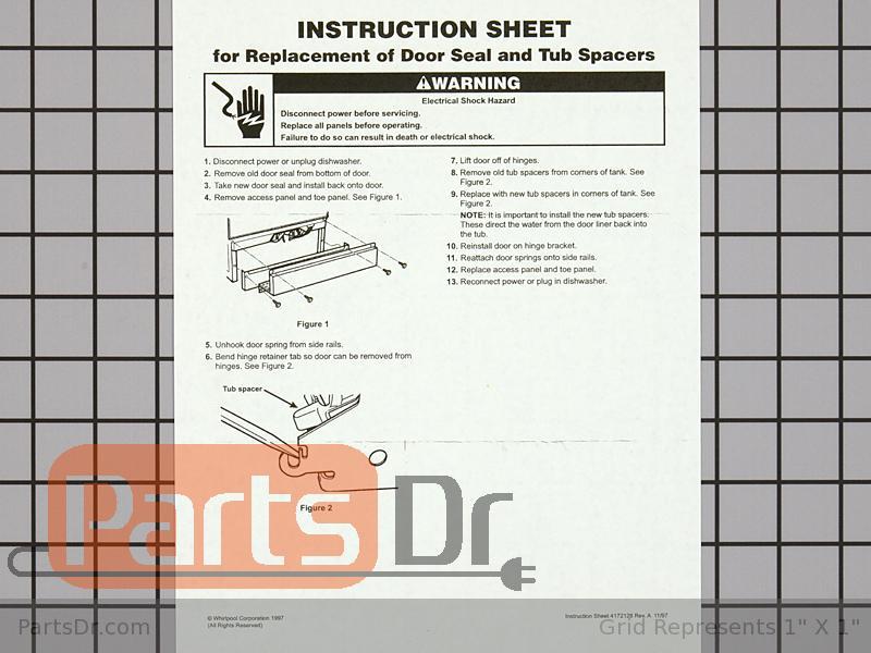 4172127 Whirlpool Dishwasher Lower Door Seal Kit Parts Dr