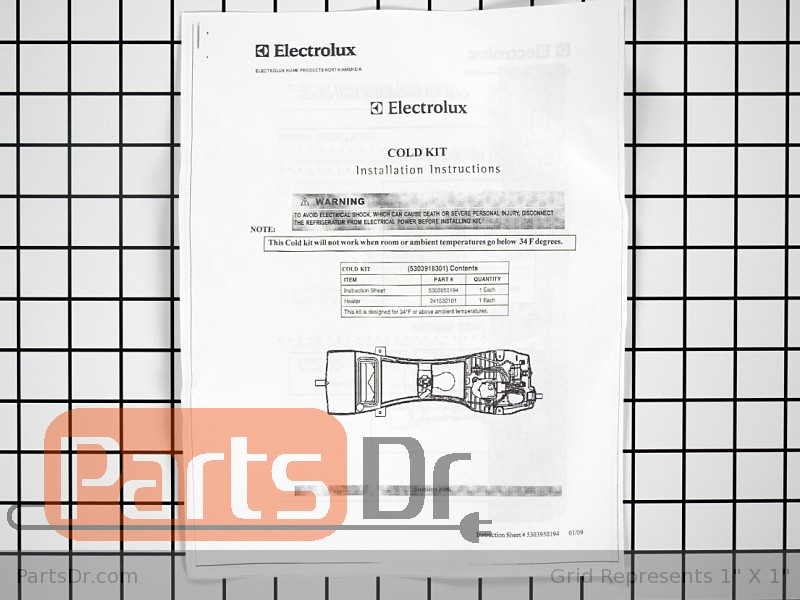 5303918301 Frigidaire Kenmore Garage Heater Kit Parts Dr
