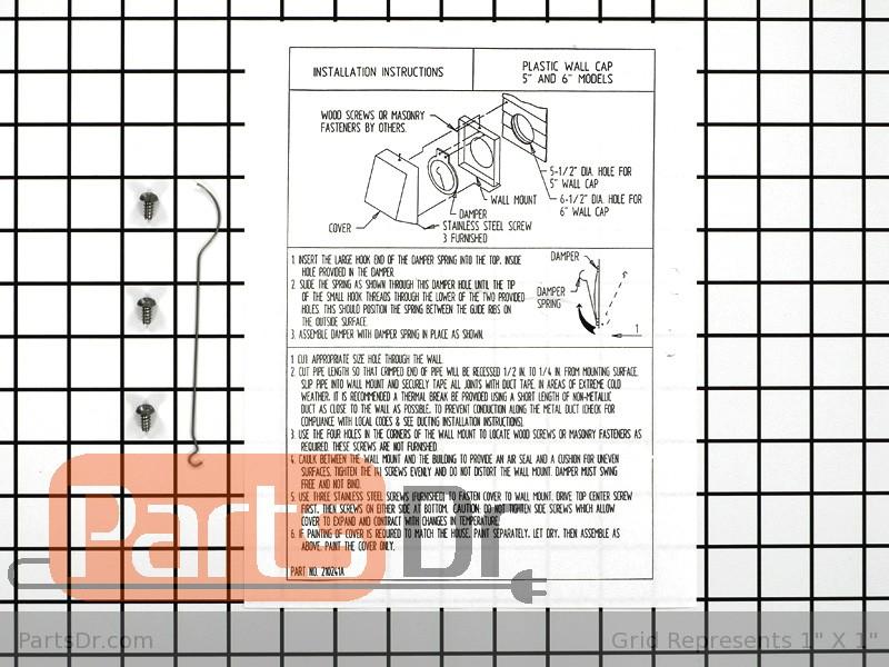 A405 Jenn Air Downdraft 5 Inch Wall Vent Cap Parts Dr