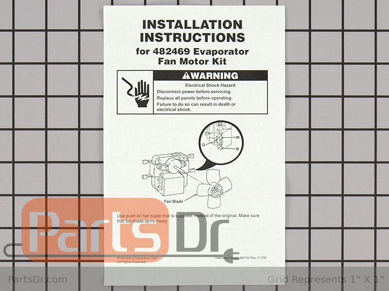 482469 whirlpool evaporator fan motor kit parts dr for How to test refrigerator evaporator fan motor