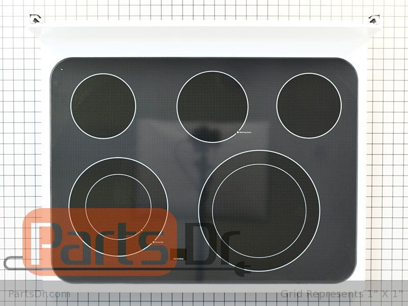Ge Rangetop Glass Assembly White, Ge Glass Top Range Burner Replacement