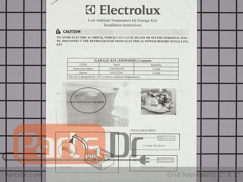 5303918301 Frigidaire Kenmore Garage Heater Kit Parts Dr
