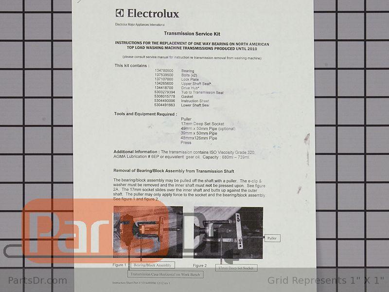 5304490556 ELECTROLUX FRIGIDAIRE Washer transmission service kit