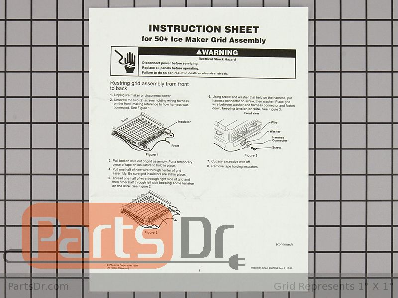 4387020 - Whirlpool Ice Cutting Grid Wire Kit | Parts Dr on