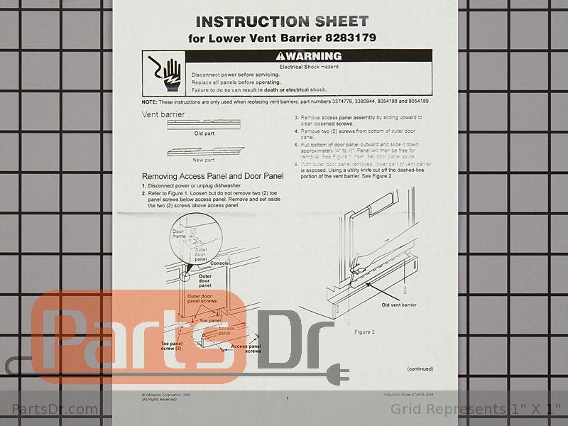 WP8283179 AP3044327 PS394188 Genuine 8283179 Dishwasher Barrier Lower Vent