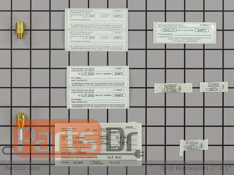 Lpk1 Whirlpool Lp Gas Conversion Kit Parts Dr